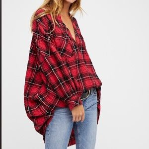Free people plaid over sized tunic